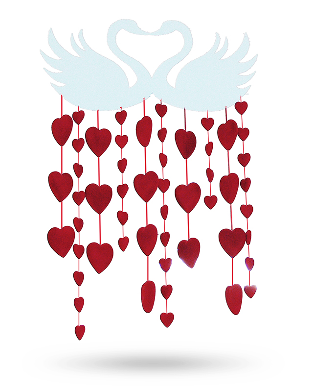 0cba25c2471 2D zamilovaná labuť s červenými srdci